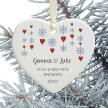 First Christmas Engaged Heart Christmas Tree Decoration - Snowflake Hearts Design